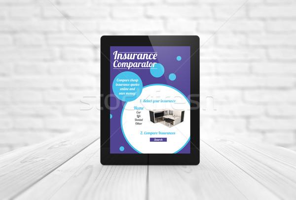 Assurance table en bois communications comprimé écran Photo stock © georgejmclittle