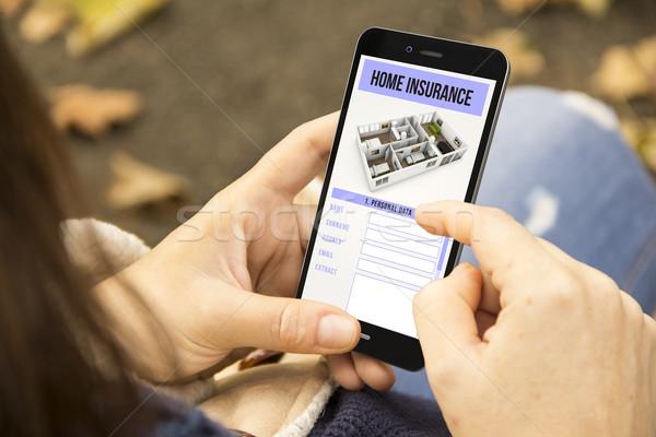 女性 住宅保険 電話 公園 保護 ストックフォト © georgejmclittle