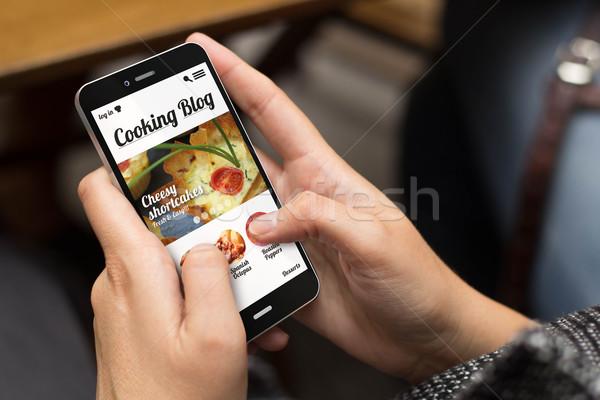 Rua menina cozinhar blog tecnologia estilo de vida Foto stock © georgejmclittle