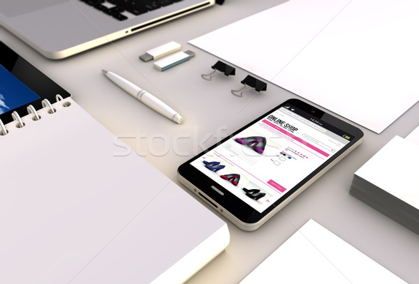 online shop smartphone office Stock photo © georgejmclittle