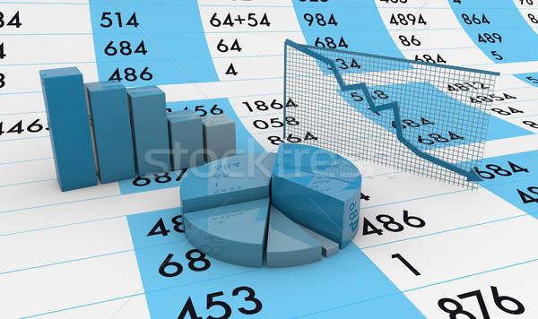Arkusz kalkulacyjny wykresy oddać grafiki farbują tle Zdjęcia stock © georgejmclittle