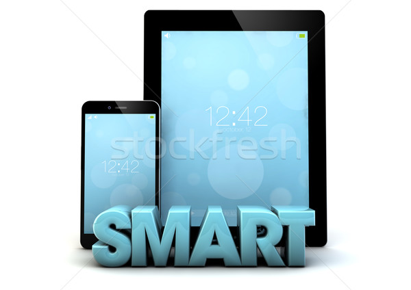 Smart tablet telefoon woord laptop achtergrond Stockfoto © georgejmclittle