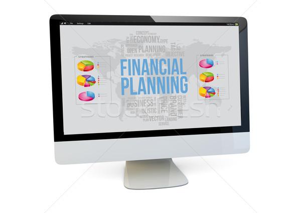 Pénzügyi tervezés laptop pénzügyi render számítógép képernyő Stock fotó © georgejmclittle