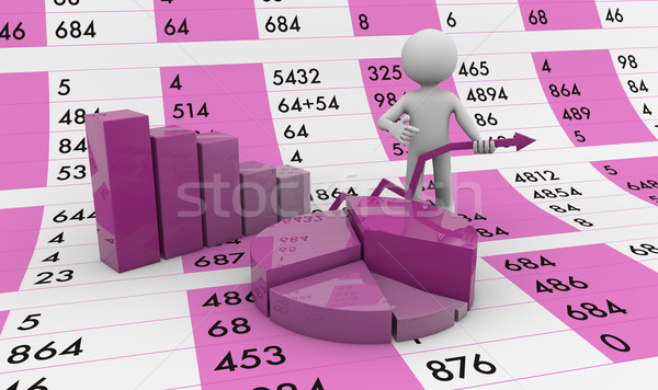 Táblázat férfi grafika ceruza háttér diagram Stock fotó © georgejmclittle