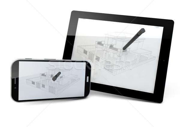 Comprimé smartphone projet génie affaires Photo stock © georgejmclittle