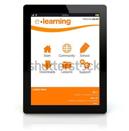 таблетка завтрак онлайн образование Сток-фото © georgejmclittle