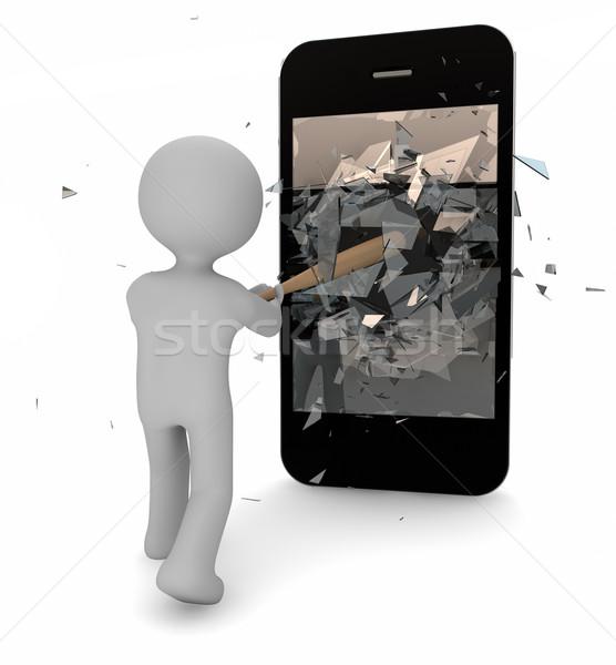 3d визуализации человека телефон ячейку Bat перерыва Сток-фото © georgejmclittle