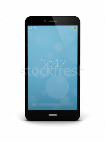 Render zárolt telefon okostelefon háló fehér Stock fotó © georgejmclittle