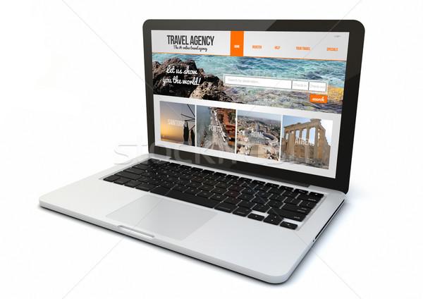 ноутбука бюро путешествий сайт экране оказывать 3D Сток-фото © georgejmclittle
