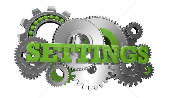 Beállítások render sebességváltó szöveg ötlet ikon Stock fotó © georgejmclittle