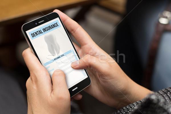 Rue fille dentaires assurance numérique généré Photo stock © georgejmclittle