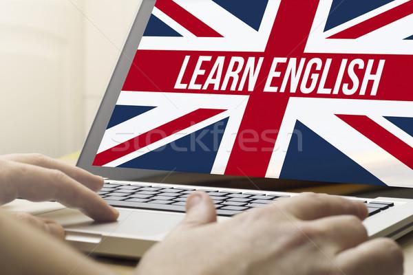 Ev öğrenmek İngilizce çevrimiçi iş adamı Stok fotoğraf © georgejmclittle