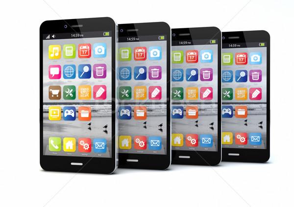 четыре оказывать оригинальный телефон технологий Сток-фото © georgejmclittle