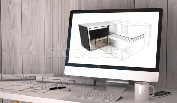 architect studio workplace Stock photo © georgejmclittle