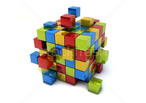 Affaires travail d'équipe groupe cubes métaphore Photo stock © georgejmclittle
