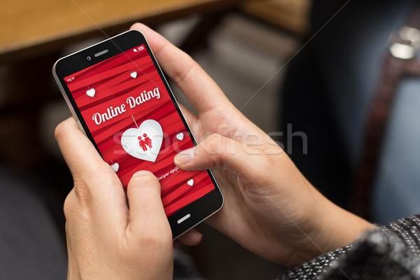 Utca lány online randizás szeretet digitális Stock fotó © georgejmclittle