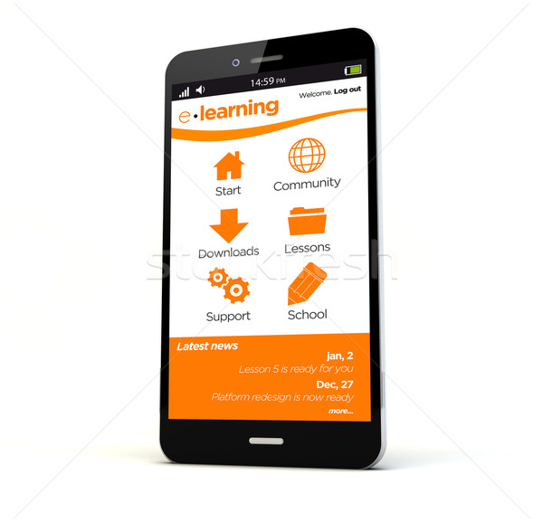 Online oktatás telefon render vágány képernyő izolált Stock fotó © georgejmclittle