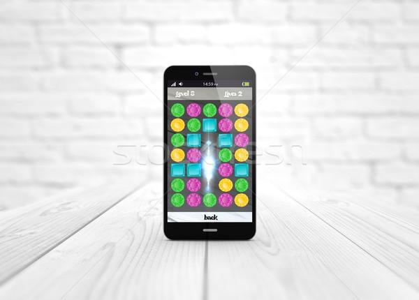 Okostelefon fa asztal játék szórakoztatás digitális generált Stock fotó © georgejmclittle