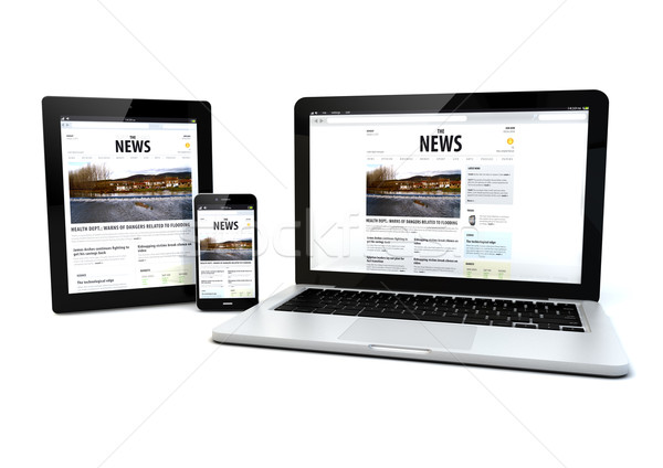 news on a tablet, laptop and phone Stock photo © georgejmclittle