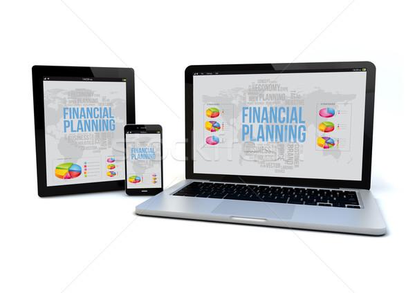 Sensible planification financière smartphone ordinateur Photo stock © georgejmclittle