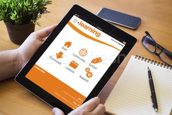 desktop tablet e-learning Stock photo © georgejmclittle