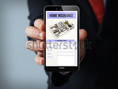 бизнесмен билета полет приложение телефон бизнеса Сток-фото © georgejmclittle