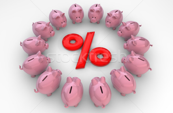 piggybanks percent Stock photo © georgejmclittle
