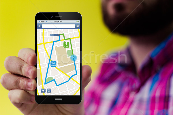 Smartphone navigation interface écran barbe Photo stock © georgejmclittle
