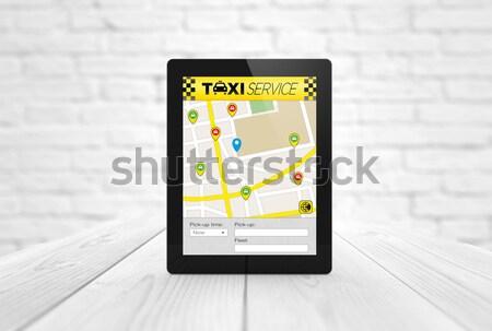 Comprimé GPS déjeuner route planificateur Photo stock © georgejmclittle