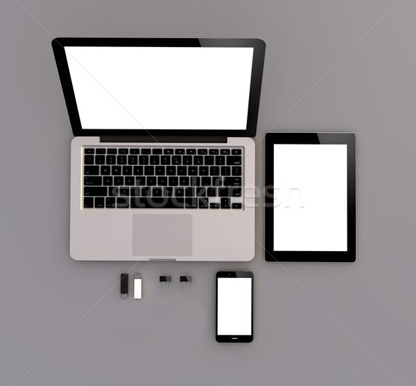 Duyarlı üst görmek dizüstü bilgisayar tablet Stok fotoğraf © georgejmclittle