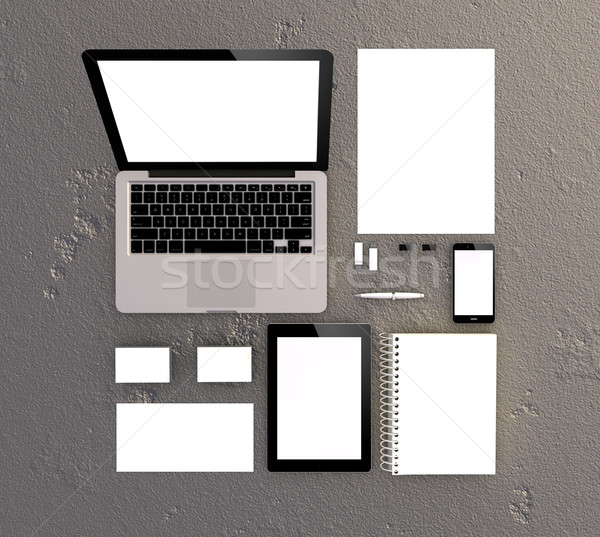 3d Generated blank Stationery and Corporate ID Template.  Business cards, laptop computer, letterhea Stock photo © georgejmclittle