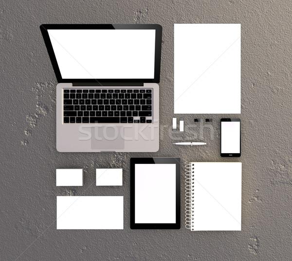 3D wygenerowany materiały biurowe korporacyjnych szablon Zdjęcia stock © georgejmclittle