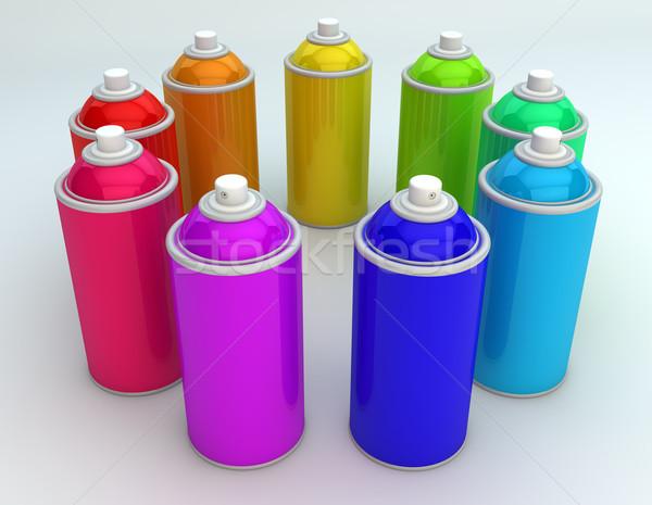 Stock fotó: Spray · render · csoport · színes · festék · háttér