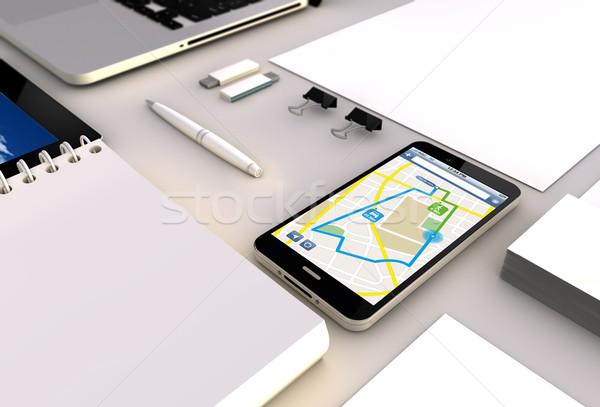 GPS smartphone bureau route planificateur Photo stock © georgejmclittle