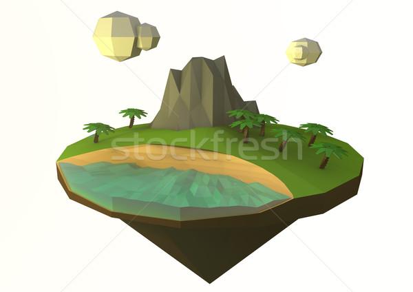 île faible arbre nuages mer Photo stock © georgejmclittle