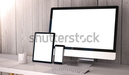 devices responsive on workspace Stock photo © georgejmclittle
