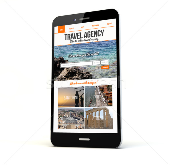 Stock photo: travel agency website on screen phone