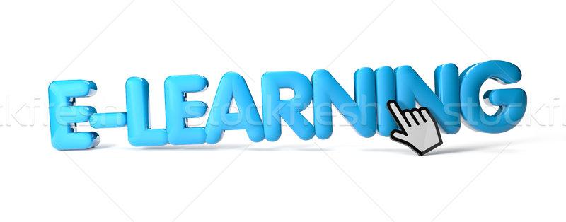 Online oktatás render szöveg tanul ötlet illusztráció Stock fotó © georgejmclittle