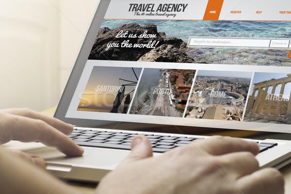 домой вычисление бюро путешествий онлайн путешествия человека Сток-фото © georgejmclittle