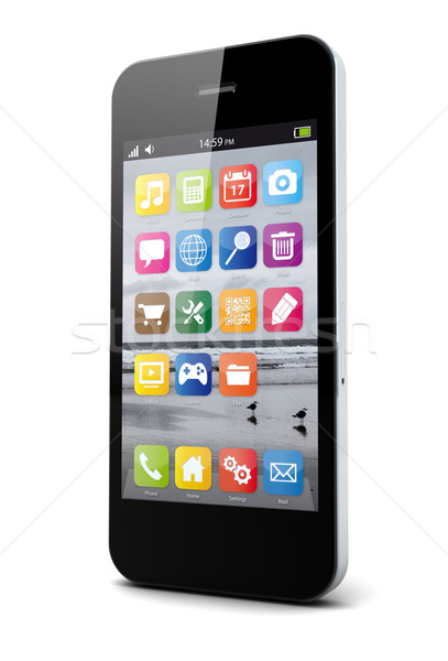 Smartphone geven besturingssysteem scherm telefoon technologie Stockfoto © georgejmclittle