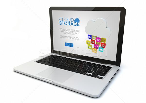 Portable nuage stockage 3D généré Photo stock © georgejmclittle