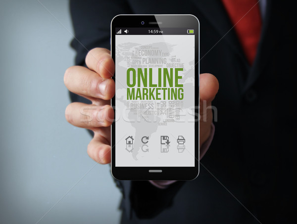 online marketing businessman smartphone Stock photo © georgejmclittle