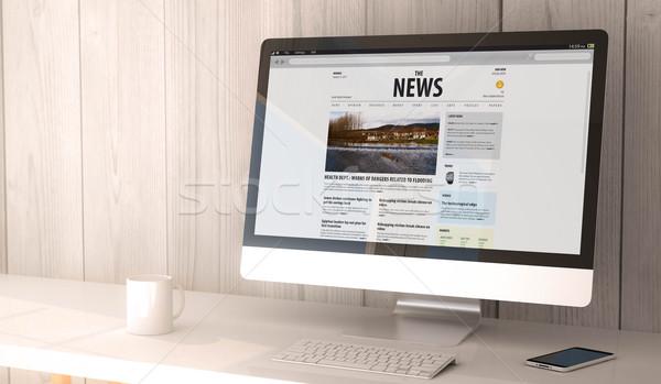 desktop computer  news Stock photo © georgejmclittle
