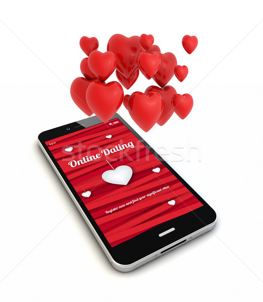 smartphone online dating render with hearts in the air Stock photo © georgejmclittle