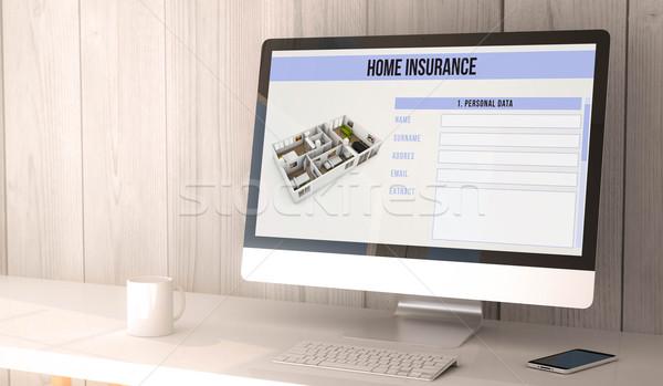 Ev sigortası dijital vermek oluşturulan Çalışma alanı Stok fotoğraf © georgejmclittle
