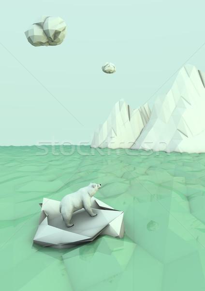 polar bear castaway Stock photo © georgejmclittle