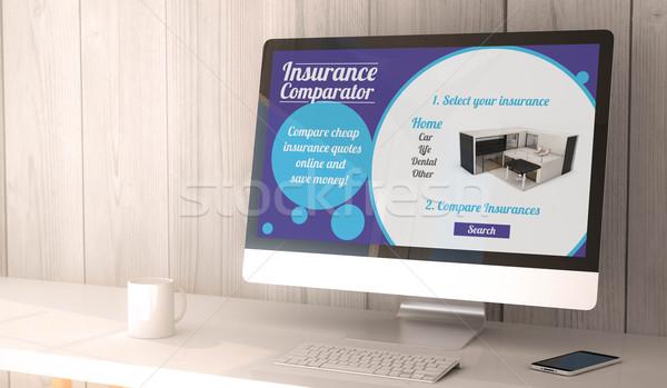 desktop computer insurance comparator Stock photo © georgejmclittle