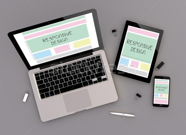 Reszponzív terv kilátás 3d render eszközök laptop számítógép Stock fotó © georgejmclittle