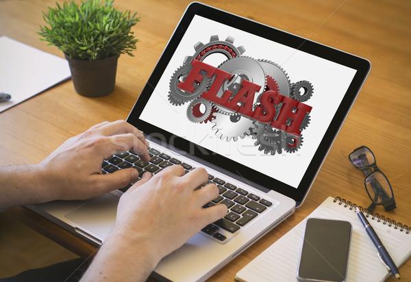 Stockfoto: Computer · desktop · flash · ontwikkelaar · web · ontwerper