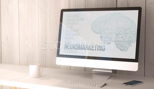 Digitale geven gegenereerde werkruimte scherm Stockfoto © georgejmclittle